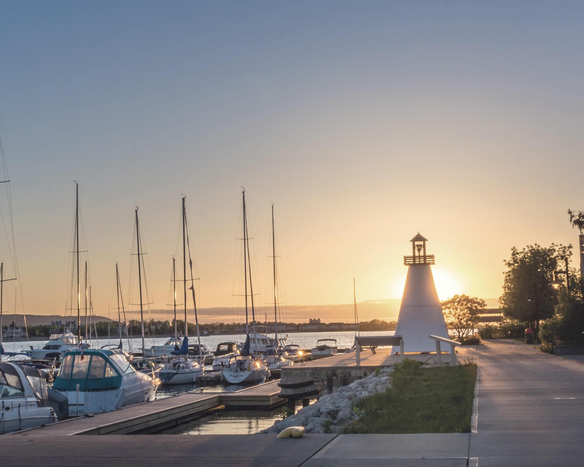 Lighthouse at a marina
