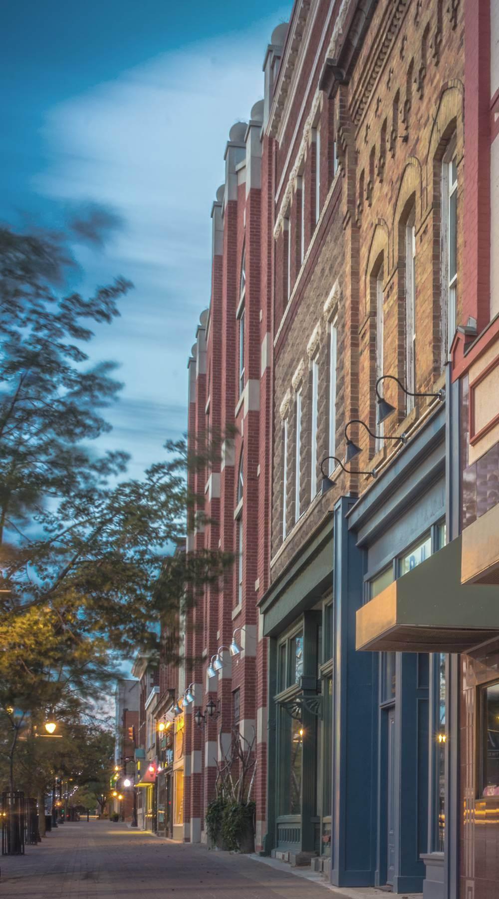 View along downtown sidewalk