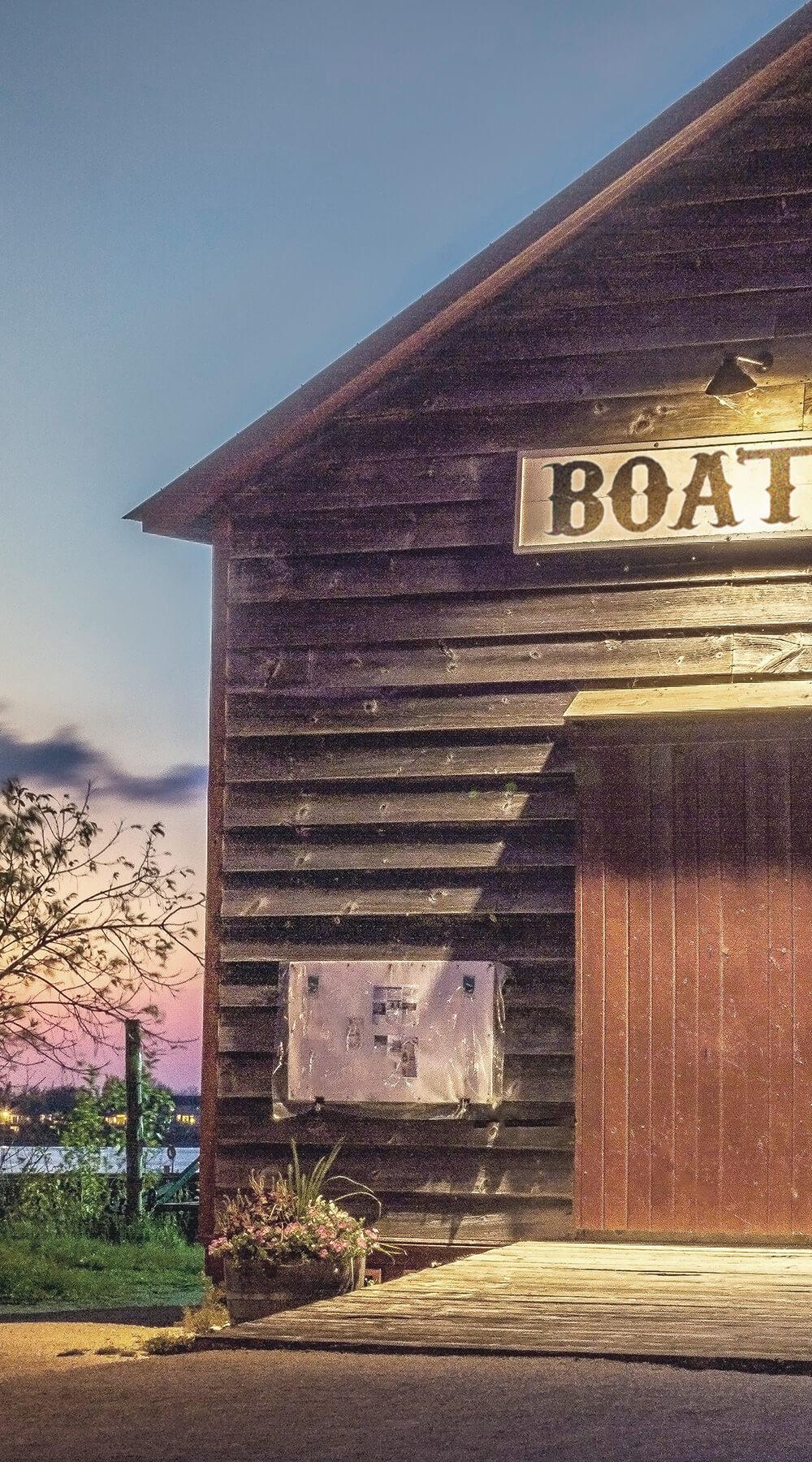 Wooden boathouse
